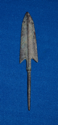 A very large and impressive Ancient Chinese bronze tanged arrowhead (Warring States Period). SOLD